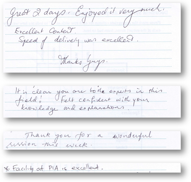 Real comments from students of the first Australian TDSS